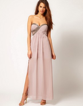 Image 1 ofLittle Mistress Embellished Bust Maxi Dress