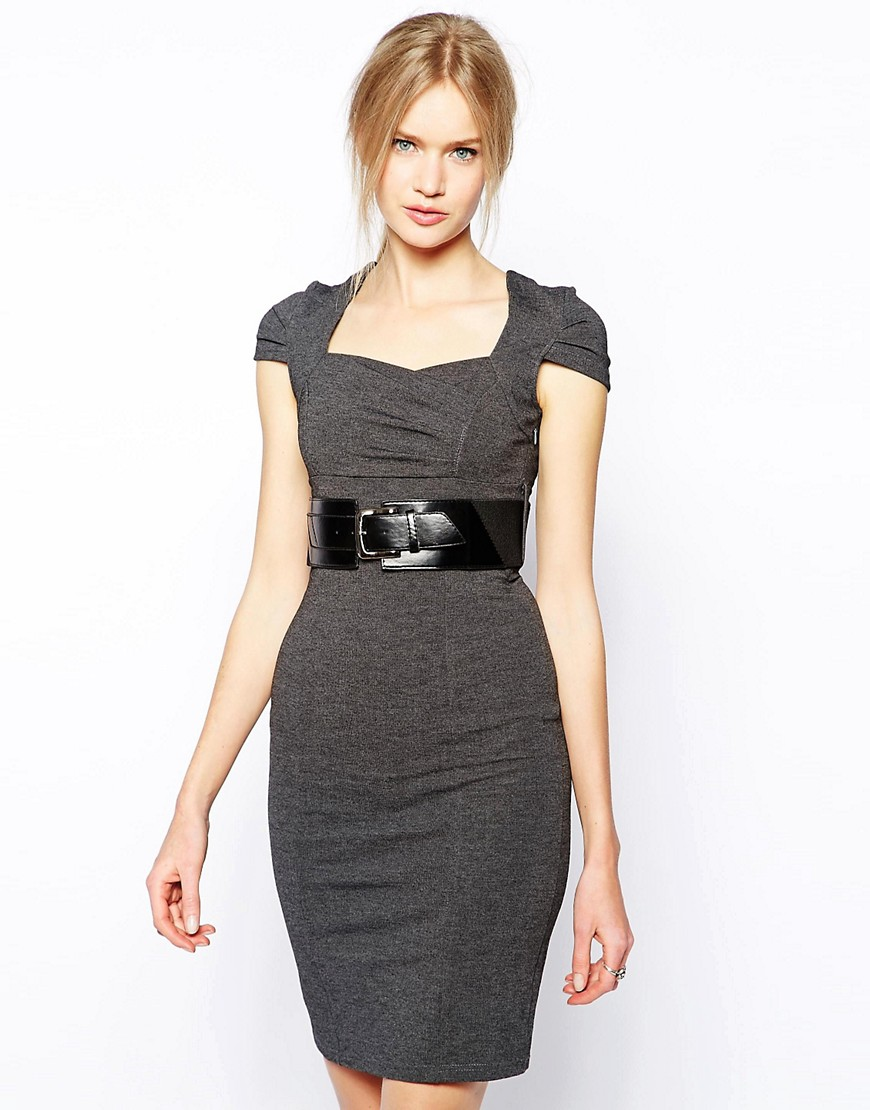 QED London Belted Work Dress - Grey