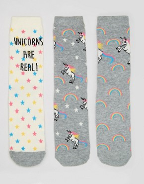 New Look 3 Pack Unicorn Ankle Socks