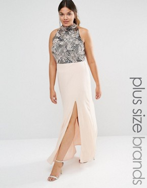 Lovedrobe Heavily Embellished Bodice Maxi Dress With High Neck And Thigh Split Detail