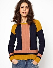 BA&amp;SH Colour Blocked Jumper in Chunky Knitted Cotton