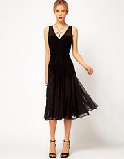 ASOS Midi Dress with Velvet Detail