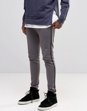 ASOS Jersey Skinny Joggers With Stripe In Grey