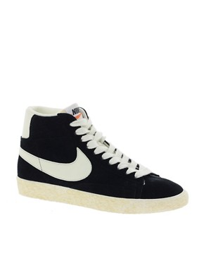 Image 1 ofNike Blazer High Vintage Black Trainers