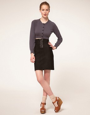 Image 1 ofGanni Woodstock Leather Lace Up Pencil Skirt