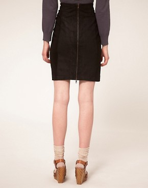 Image 2 ofGanni Woodstock Leather Lace Up Pencil Skirt