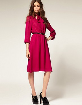 Image 4 ofASOS PussybowMidi Dress with Elastic Waist