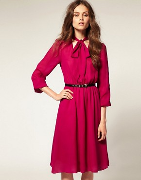 Image 1 ofASOS PussybowMidi Dress with Elastic Waist
