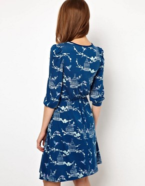 Image 2 ofA Wear Wrap Dress With Birdcage Print