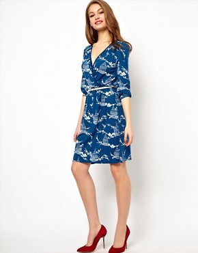 Image 4 ofA Wear Wrap Dress With Birdcage Print