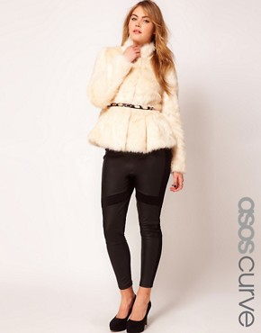 Image 1 ofASOS CURVE Exclusive Fur Peplum Coat