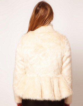 Image 2 ofASOS CURVE Exclusive Fur Peplum Coat