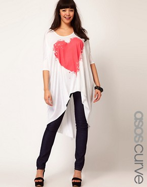 Image 1 ofASOS CURVE Exclusive Bleeding Heart Dip Back Top