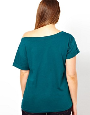 Image 2 ofASOS CURVE Exclusive Off Shoulder T-Shirt