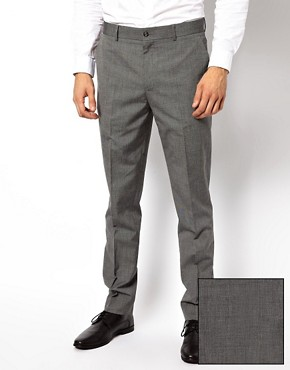 ASOS Slim Fit Suit Trousers In Mid Grey