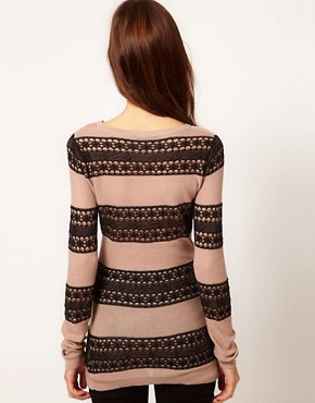 Image 2 ofWarehouse Lace Stripe Jumper