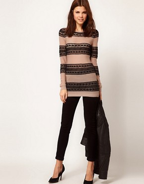 Image 4 ofWarehouse Lace Stripe Jumper