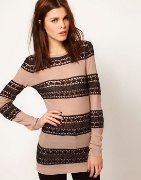 Image 1 ofWarehouse Lace Stripe Jumper