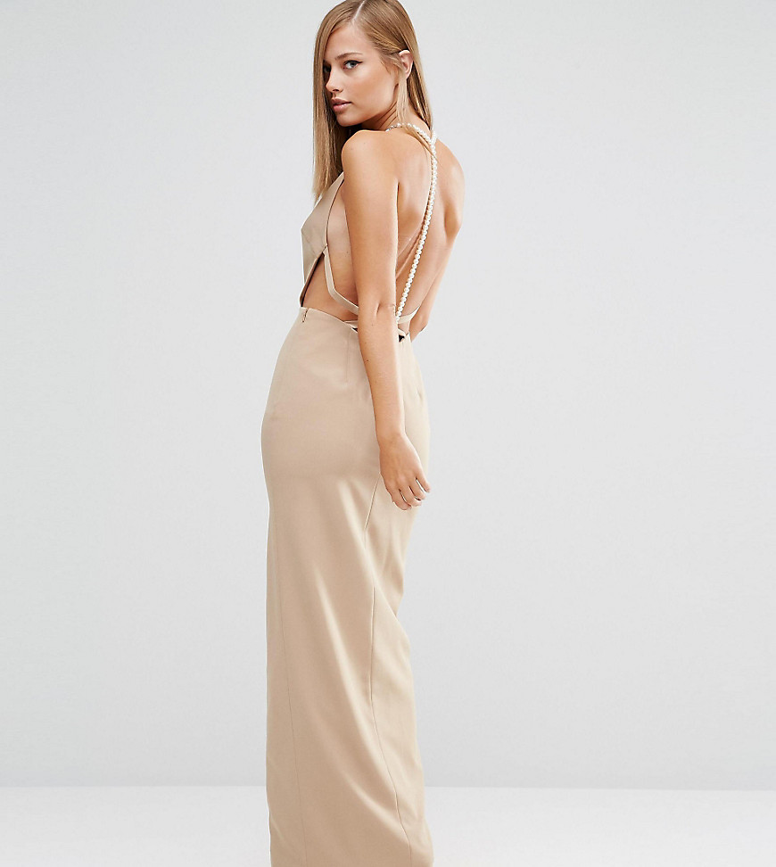 Fame and Partners Sleek Maxi Dress with Faux Pearl Back