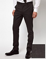 ASOS Skinny Fit Grey Suit Trousers in Wool Blend