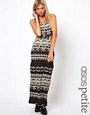 ASOS PETITE Exclusive Maxi Dress In Aztec Print With Cut Out Detail