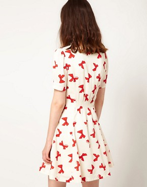 Image 2 of Nishe Bow Print Sweetheart Dress