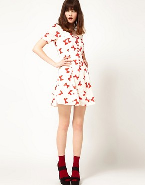 Image 4 of Nishe Bow Print Sweetheart Dress