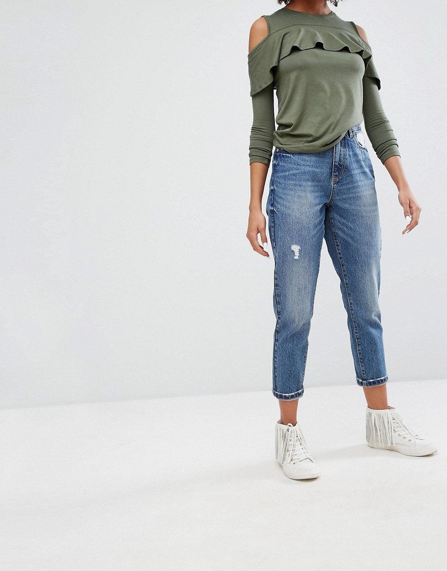 Only Mom Distressed Mom Jean - Denim