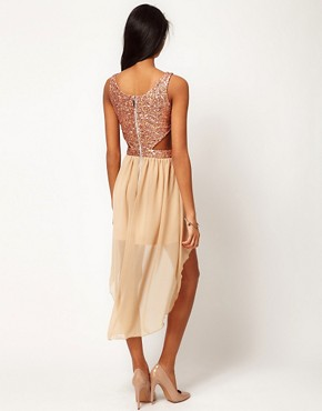 Image 2 ofRare Sequin Cut Out Dress With Chiffon Hi Lo Skirt