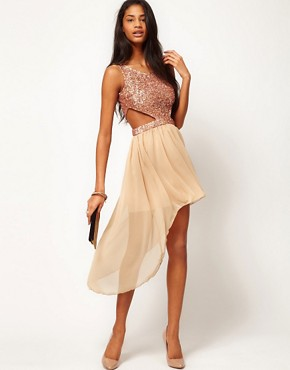 Image 4 ofRare Sequin Cut Out Dress With Chiffon Hi Lo Skirt
