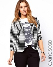 ASOS CURVE Exclusive Blazer In Stripe