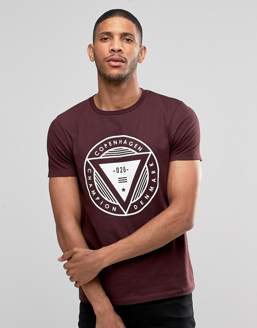ASOS T-Shirt With Copenhagen Print In Oxblood - Red