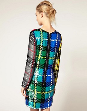 Image 2 ofAshish Long Sleeve Dress In Sequin Clash Tartan
