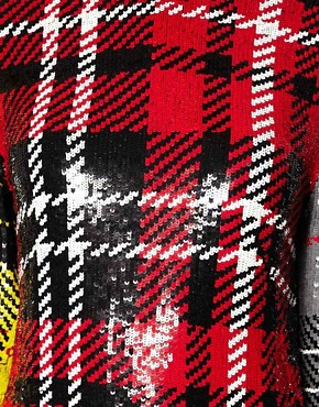 Image 3 ofAshish Long Sleeve Dress In Sequin Clash Tartan