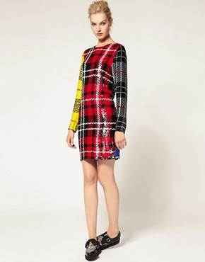 Image 4 ofAshish Long Sleeve Dress In Sequin Clash Tartan
