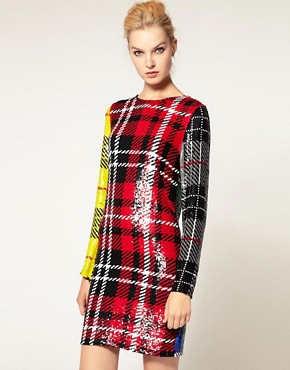 Image 1 ofAshish Long Sleeve Dress In Sequin Clash Tartan