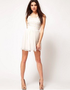 Image 4 ofASOS PETITE Exclusive Dress With Sequin Daisies