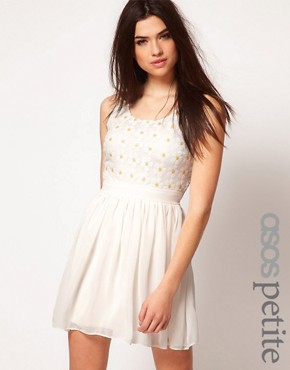 Image 1 ofASOS PETITE Exclusive Dress With Sequin Daisies