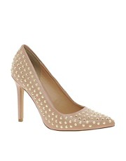 Faith Cinderella Studded Nude Court Shoes