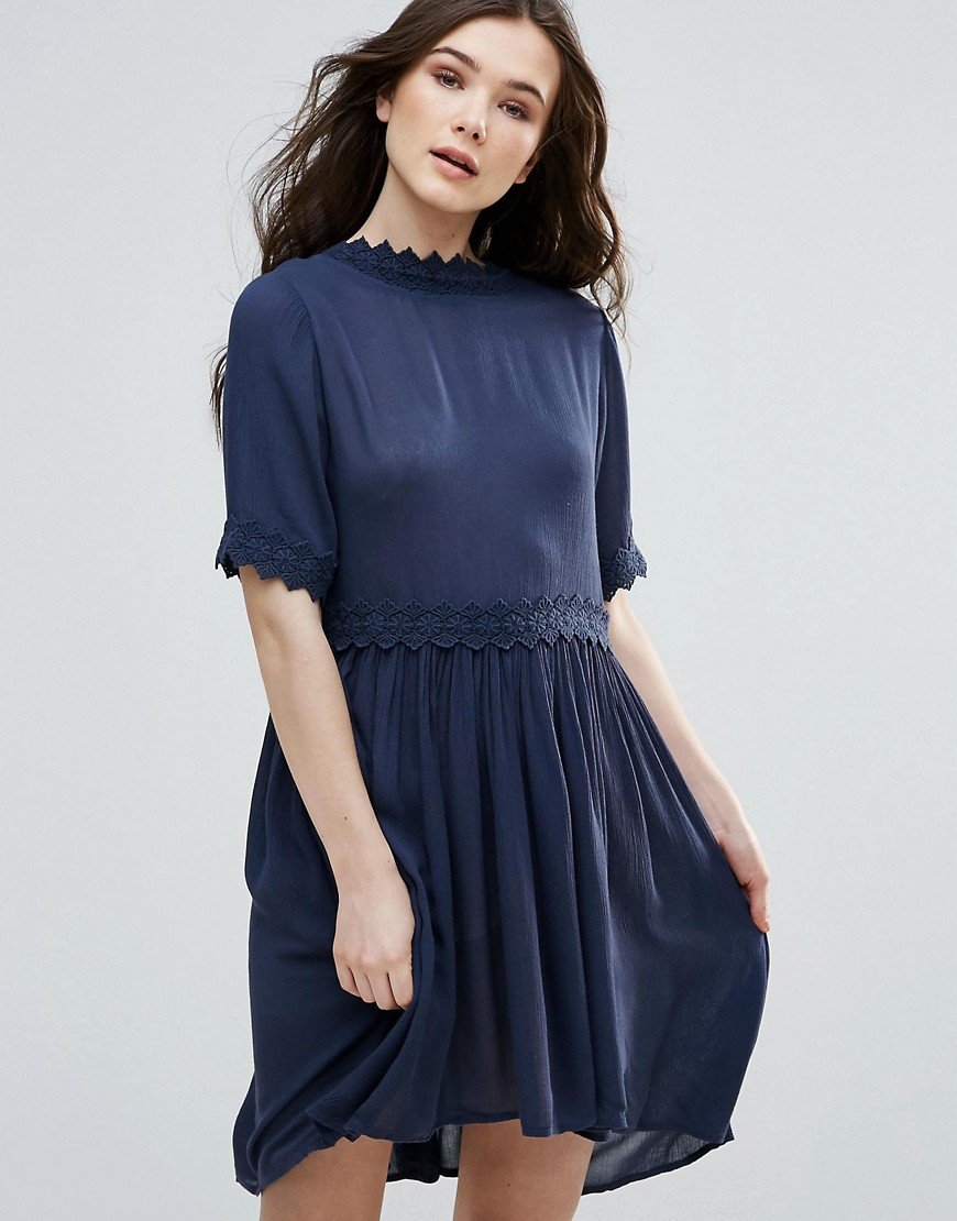 Vero Moda Short Sleeve Smock Dress - Navy