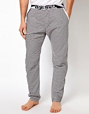 Diesel Striped Logo Lounge Bottoms