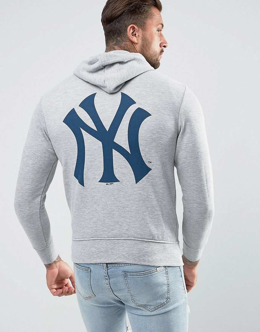 Majestic New York Yankees Hoodie With Back Print - Grey