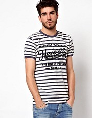 Pepe Jeans T-Shirt Script Breton Stripe Slim Fit