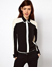 ASOS Shirt With Layered Collar And Monochrome Panels
