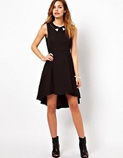 Vila Hi Lo Dress With Studded Collar