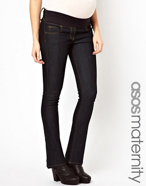 Image 1 ofASOS Maternity Lennox Jeans With Stretch Waistband