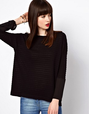 Image 1 ofEleven Paris Sheer Stripe Jumper with Sheer Cuff