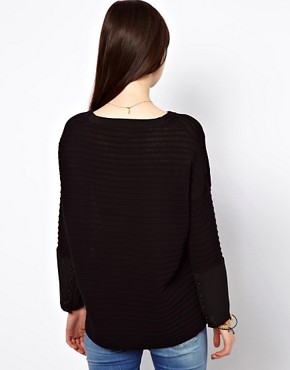Image 2 ofEleven Paris Sheer Stripe Jumper with Sheer Cuff
