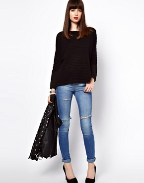 Image 4 ofEleven Paris Sheer Stripe Jumper with Sheer Cuff