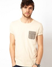 ASOS T-Shirt With Houndstooth Woven Pocket